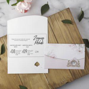 Pembe Çiçekli Zarfsız Eko Polen Davetiye 40129