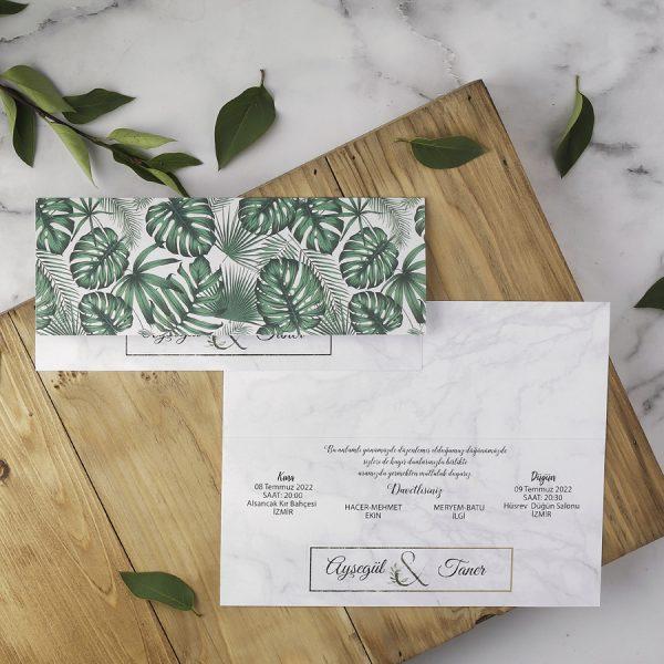 Yeşil Yapraklı Zarfsız Eko Polen Davetiye 40142
