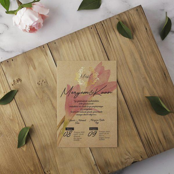 Kraft Pembe Çiçekli Eko Polen Davetiye 40155