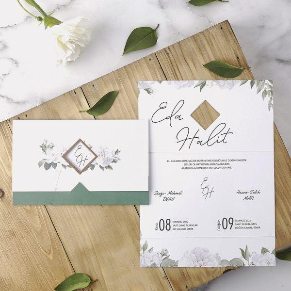 Yeşil Çiçekli Zarfsız Eko Polen Davetiye 40160