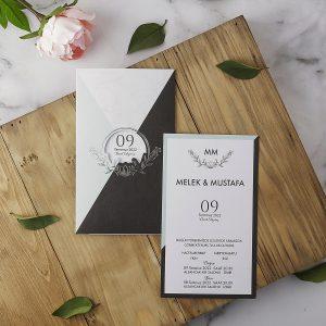 Siyah Gri Renk Zarflı Minimal Eko Polen Davetiye 40173