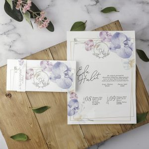 Lila ve Pembe Çiçekli Zarfsız Eko Polen Davetiye 40186