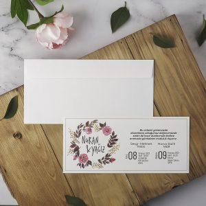 Beyaz Zarflı Pembe Çiçekli Sade Eko Polen Davetiye 40214