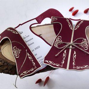 Bordo Renk Kaftan Şeklinde Butiqline Davetiye 1159