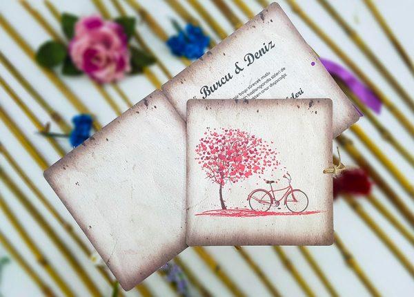 Ağaç ve Bisiklet Temalı Kare Liva Davetiye 4111