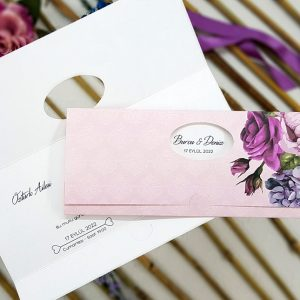 Mor Renk Çiçekli Zarfsız Liva Davetiye 4146