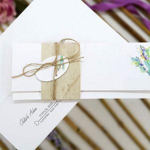 Yeşil Çiçekli Hasır İpli Zarfsız Liva Davetiye 4157