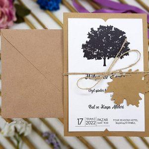 Kraft Zarflı Siyah Renk Ağaç Temalı Liva Davetiye 7004