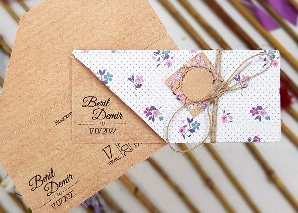 Kraft Renk Pembe Çiçek Desenli Liva Davetiye 7013