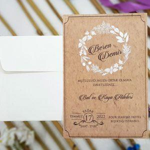 Kraft Baskı Kartlı Beyaz Çiçekli Liva Davetiye 7027