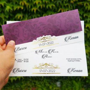 Mor Renk Motif Desenli Zarfsız Liva Davetiye 7248
