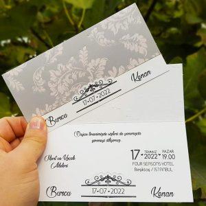 Çiçek Desenli Zarfsız Sade Liva Davetiye 7255