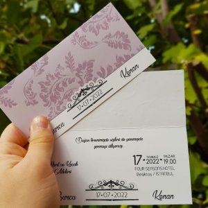 Çiçek Desenli Zarfsız Sade Liva Davetiye 7256