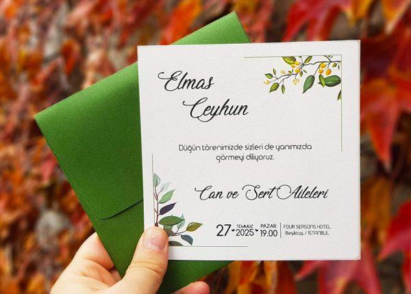 Yeşil Zarflı Limon Çiçekli Kare Liva Davetiye 7264