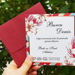 Kırmızı Zarflı Çiçekli Kare Motifli Liva Davetiye 7267