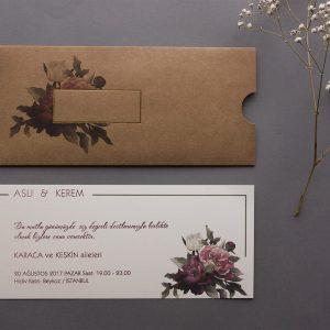 Kraft Zarflı Pembe Çiçekli Nova Davetiye 1000