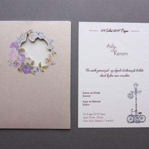 Somon Renk Zarflı Bisiklet Temalı Çiçekli Nova Davetiye 1008